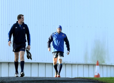 Gopperth on his way to training with Devin Toner.