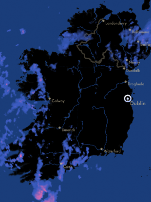 Rainfall over Ireland this morning.