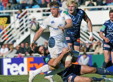 Leinster's Jamie Heaslip on the charge against Castres.