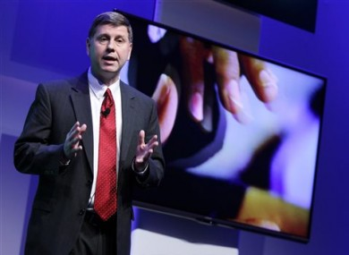 Sharp of America's Jim Sanduski speaks during a news conference announcing the new lineup of Sharp televisions, including a 4K lite.