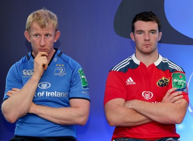 Leinster's Leo Cullen and Peter O'Mahony of Munster at the Heineken Cup launch in October.