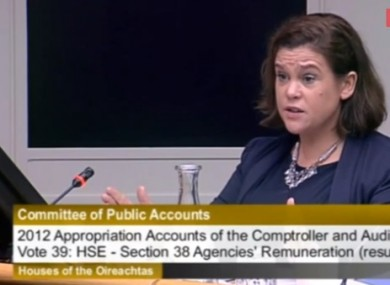 Deputy Mary Lou McDonald speaking at the Public Accounts Committee hearing last week.