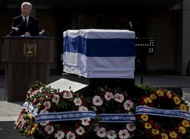 The coffin of late Israeli Prime Minister Ariel Sharon at the Knesset, the Israeli Parliament, in Jerusalem today.