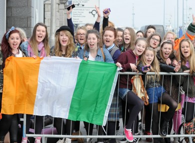One Direction fans wait outside the O2 in Dublin.