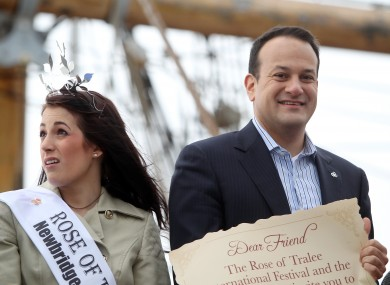 2012 Rose of Tralee Nicola McEvoy and Minister for Tourism Leo Varadker aboard Famine Ship & Museum the Jeanie Johnston.
