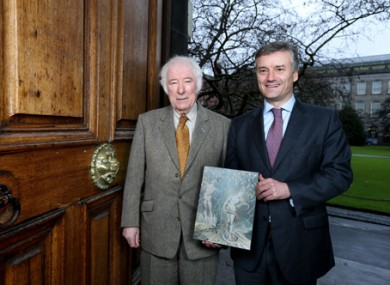 Seamus Heaney with TCD provost Dr Patrick Prendergast when the professorship was announced in 2012, before the poet's death.