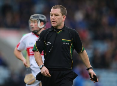 Shane Hourigan, pictured refereeing the 2012 AIB Munster SHC club final.