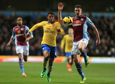 Arsenal's Serge Gnabry and Ireland and Aston Villa defender Ciaran Clark.