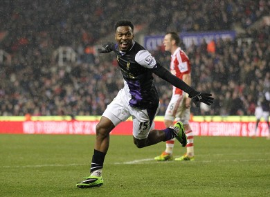 Liverpool's Daniel Sturridge celebrates scoring his side's fifth goal.