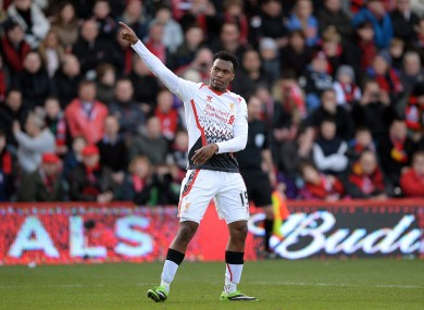 Liverpool's Daniel Sturridge celebrates after he scores his side's second goal.