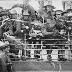 Soldiers aboard the Australian transport ship Ajana head out for overseas destinations in 1916.<span class=