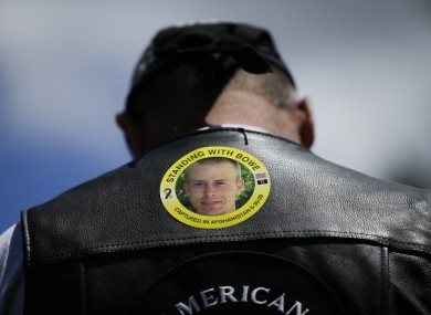 A supporter at a rally to support the parents of Bowe Bergdahl in a small town in Idaho in June.