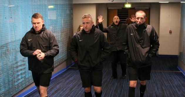 Snapshot: Howard Webb photobombed the officials at the Etihad last night