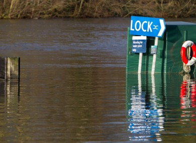 Areas next to the River Thames in Chertsey, Surrey, are flooded after the river burst its banks yesterday.