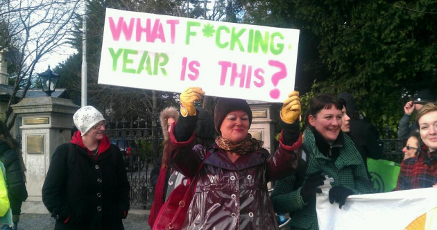 Pics: Pro-choice activists protest Spanish abortion plans at embassy in Dublin