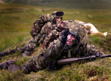 A commander calling for support fire in a military exercise in Donegal last year.