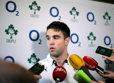 Conor Murray faces the media at Carton House.