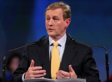 Taoiseach Enda Kenny giving his speech this evening.