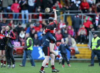 Gary Kelly celebrates after MLR's famous victory against Loughgiel.