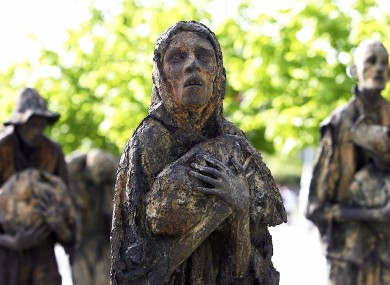 The Irish Famine Memorial on the north quay in Dublin.