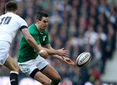 Jonny Sexton releases a pass against England on Saturday.