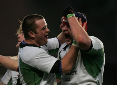 Marcus Horan and Anthony Foley celebrate an Ireland win in 2004.