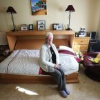 Patricia in her current bedsit on Ballygall Road.<span class=
