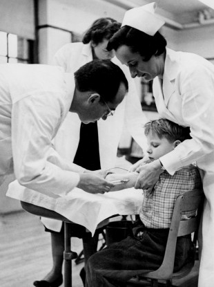 A boy receives a polio vaccine during a trial in Pennsylvania in 1957