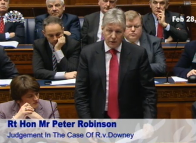 Peter Robinson at today's Northern Ireland Assembly debate.