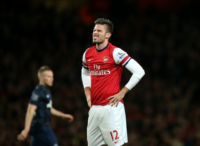 Olivier Giroud rues a missed chance.