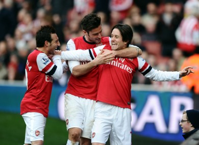 Arsenal's Tomas Rosicky celebrates scoring.