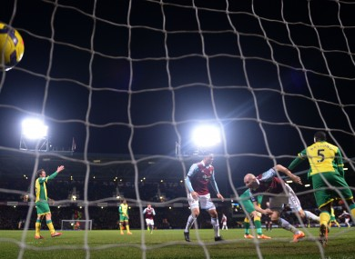 West Ham United's James Collins (right) celebrates scoring the first goal of the game.