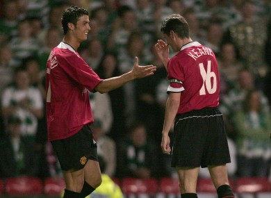 Friends reunited: Cristiano Ronaldo and Roy Keane.