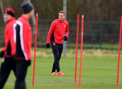 Manchester United's Nemanja Vidic during the training session at Carrington this morning.
