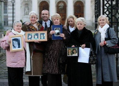 Families of the victims of the Stardust disaster, Pat Kennedy (picture of daughter Marie), Bride McDermott (William, Marcella, George) Eugene Kelly, Betty Bisset (daughter Carol perished), Antoinette and Christine Keegan (Mary and Martina) and Gertie Barrett (son Michael)