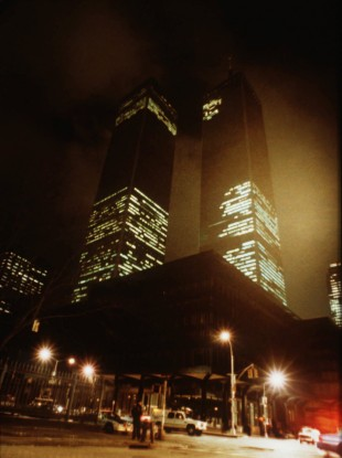 The twin towers of New York's World Trade Center are pictured in the aftermath of an explosion which occured in the underground parking garage underneath the adjacent Vista Hotel, February 26, 1993.