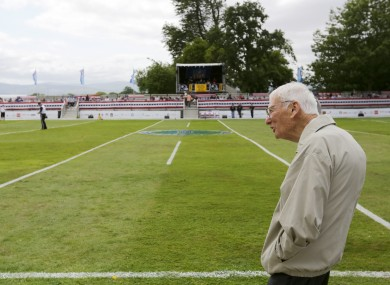 Dan Rooney looks out on the Irish American Flag Football Classic, which is held yearly on the grounds of the ambassador's residence
