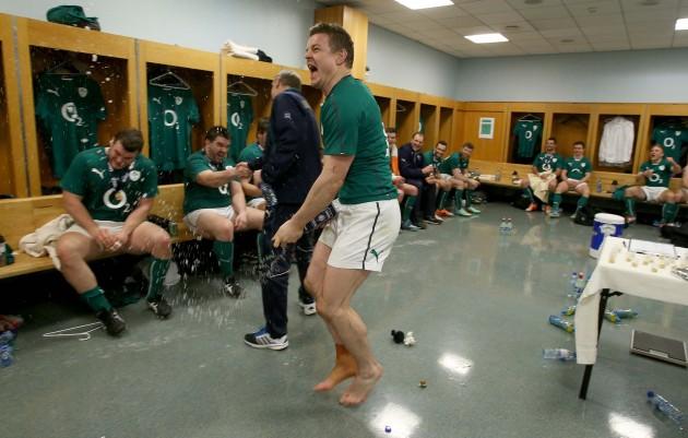 Brian O'Driscoll celebrates winning