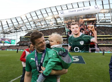 Ireland's Brian O'Driscoll with daughter Sadie after the game.