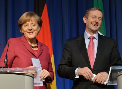 Angela Merkel and Enda Kenny at a press conference in Government Buildings today