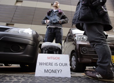 Bitcoin trader Kolin Burges protesting outside Mt. Gox in Tokyo before it filed for bankruptcy.