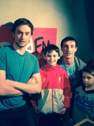 Craig (middle) with his dad Chris (right) Red FM's Joe Harrington (left).