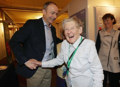 Micheál Martin shares a joke with a delegate at the Fianna Fáil Ard Fheis this weekend
