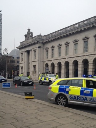 Gardaí outside the Custom House today checking that people were wearing their seat belts.
