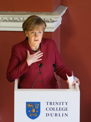 Angela Merkel addressing students at TCD today.