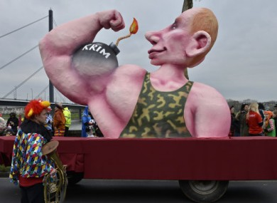 A float depicting Russia's president Vladimir Putin in Dusseldorf.