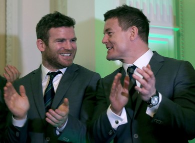 Gordon D'Arcy and Brian O'Driscoll at Farmleigh.