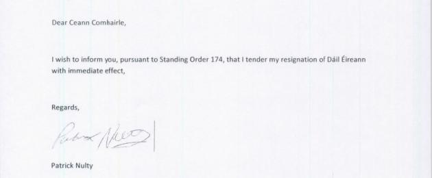 short resignation letter – Quick Resignation Letter