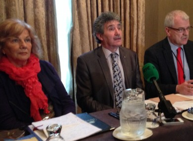 Sally Hanlon, founding member of Support After Crime Services, with independent TDs John Halligan and Finian McGrath.