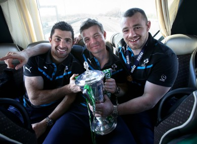 Rob Kearney, O'Driscoll and Cian Healy with the Six Nations trophy.